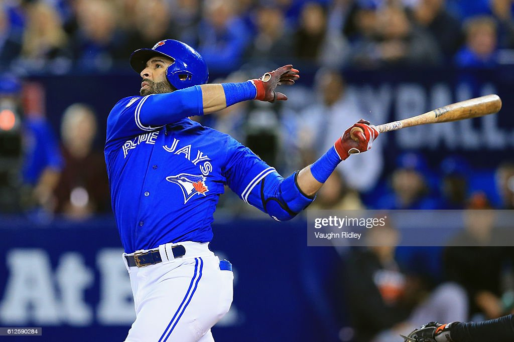 Jose Bautista #19 of the Toronto Blue Jays hits a solo home run in the second inning against the Baltimore Orioles during the American League Wild Card game at Rogers Centre on October 4, 2016 in Toronto, Canada.