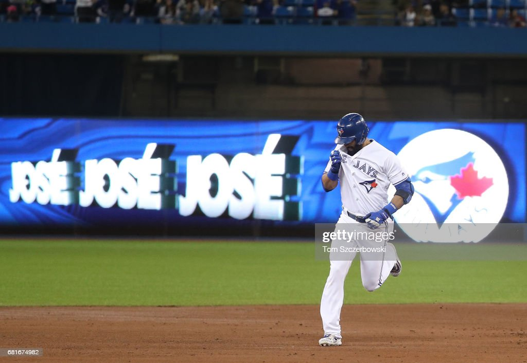 Jose Bautista #19 of the Toronto Blue Jays is circles the bases after hitting a three-run home run in the first inning during MLB game action against the Cleveland Indians at Rogers Centre on May 10, 2017 in Toronto, Canada.