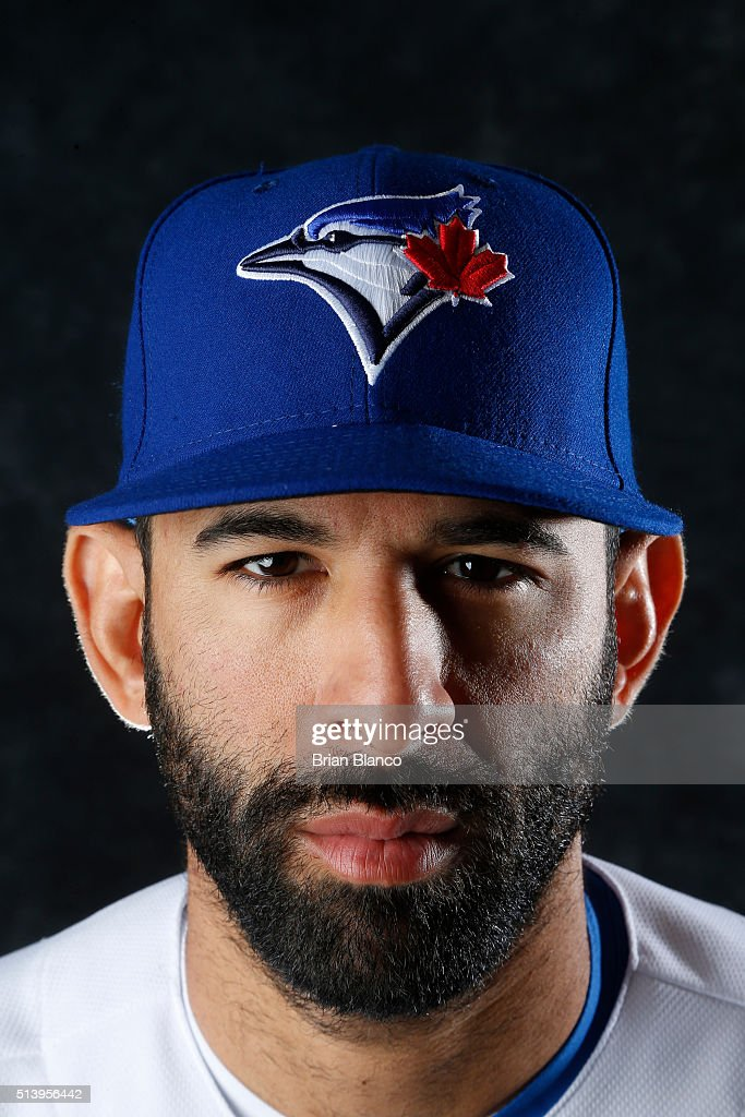 Jose Bautista #19 of the Toronto Blue Jays poses for a photo during the Blue Jays' photo day on February 27, 2016 in Dunedin, Florida.