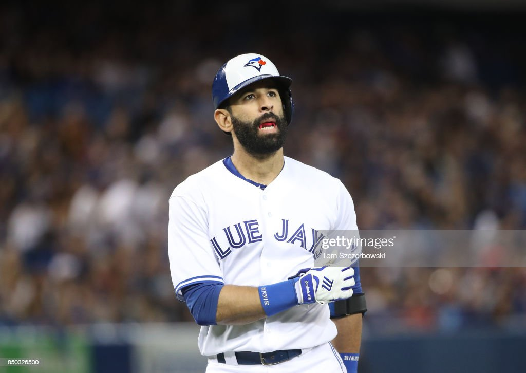 Jose Bautista #19 of the Toronto Blue Jays reacts after lining out in the second inning during MLB game action against the Kansas City Royals at Rogers Centre on September 20, 2017 in Toronto, Canada.