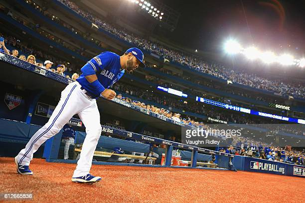 Jose Bautista of the Toronto Blue Jays takes the field prior to the American League Wild Card against the Baltimore Orioles game at Rogers Centre on...