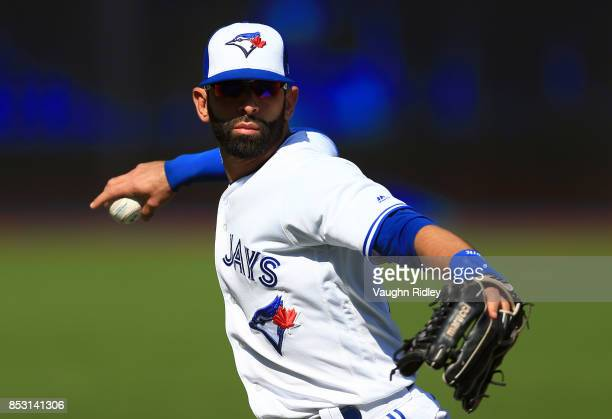 Jose Bautista of the Toronto Blue Jays warms up prior to a game against the New York Yankees at Rogers Centre on September 24 2017 in Toronto Canada