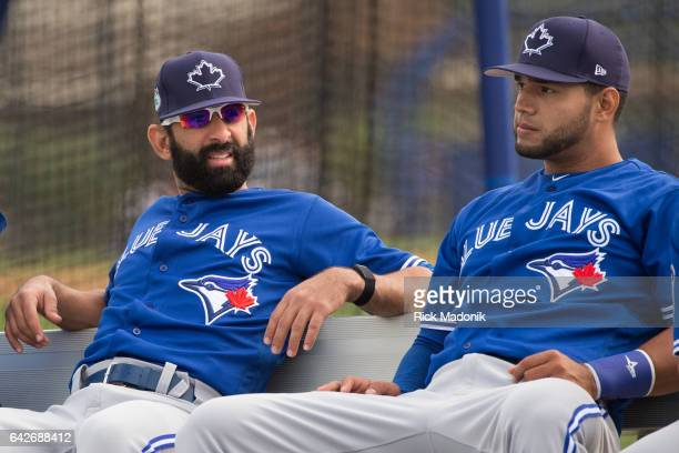 Jose Bautista sits on the bench with Lourdes Gurriel before the start of warm up Toronto Blue Jays welcome the entire squad today as position players...