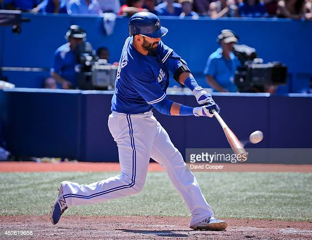 TORONTO ON JULY 24 Jose Bautista squares one up in the bottom of the 8th inning but it was caught at the wallToronto Blue Jays defeated the Boston...