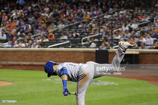 Jose Bautista Toronto Blue Jays preparing to bat during the New York Mets Vs Toronto Blue Jays MLB regular season baseball game at Citi Field Queens...