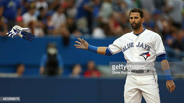 TORONTO ON JULY 18 Jose Bautista tosses his batting gloves after striking out in the third inning on a full count he thought he had the walk as the...