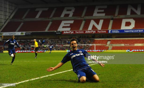 Jose Baxter of Oldham Athletic celebrates the third goal during the FA Cup with Budweiser Third Round match Nottingham Forest and Oldham Athletic at...