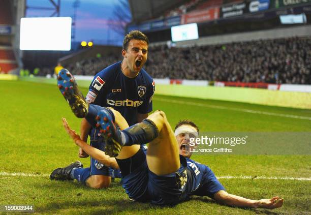 Jose Baxter of Oldham Athletic celebrates the third goal with Matt Smith during the FA Cup with Budweiser Third Round match Nottingham Forest and...