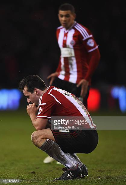 Jose Baxter of Sheffield United reacts after the during the Capital One Cup SemiFinal Second Leg match between Sheffield United and Tottenham Hotspur...