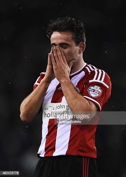Jose Baxter of Sheffield United reacts during the Capital One Cup SemiFinal Second Leg match between Sheffield United and Tottenham Hotspur at...