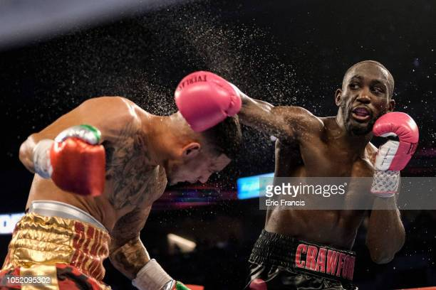 Jose Benavidez and Bud Crawford exchange blows during their match at at CHI Health Center on October 13 2018 in Omaha Nebraska Crawford won via TKO...
