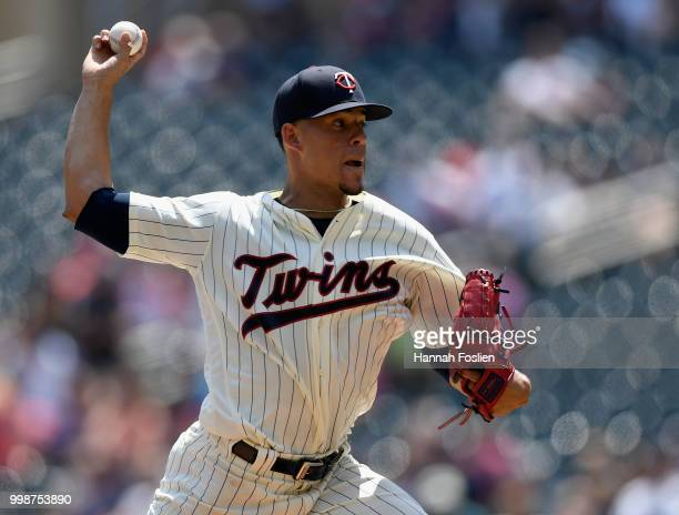 Jose Berrios of the Minnesota Twins delivers a pitch against the Tampa Bay Rays during the first inning of the game on July 14 2018 at Target Field...