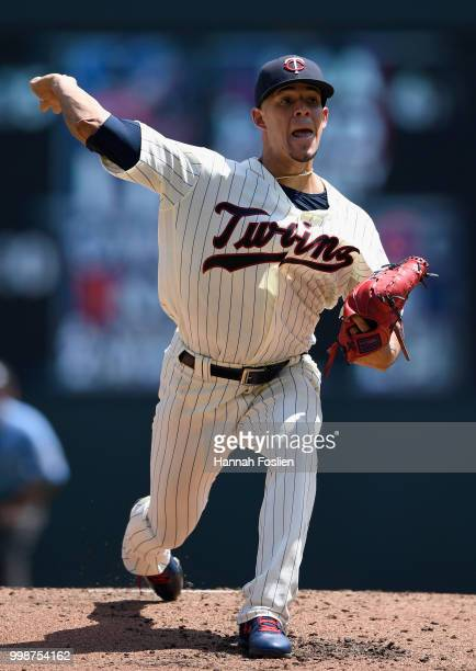 Jose Berrios of the Minnesota Twins delivers a pitch against the Tampa Bay Rays during the second inning of the game on July 14 2018 at Target Field...