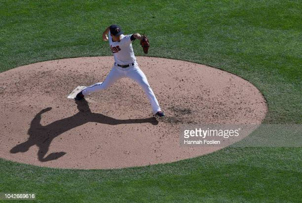 Jose Berrios of the Minnesota Twins delivers a pitch against the Chicago White Sox during the sixth inning in game one of a doubleheader on September...