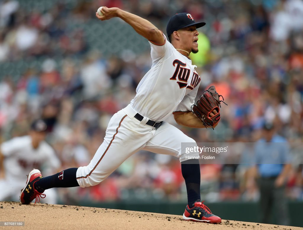 Jose Berrios #17 of the Minnesota Twins delivers a pitch against the Texas Rangers during the first inning of the game on August 6, 2017 at Target Field in Minneapolis, Minnesota.