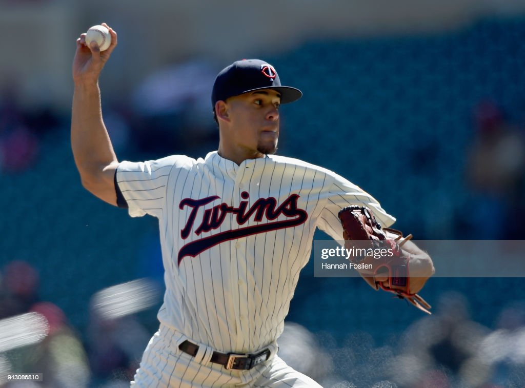 Jose Berrios #17 of the Minnesota Twins delivers a pitch against the Seattle Mariners during the first inning of the game on April 7, 2018 at Target Field in Minneapolis, Minnesota.