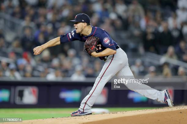 Jose Berrios of the Minnesota Twins throws a pitch against the New York Yankees during the first inning in game one of the American League Division...