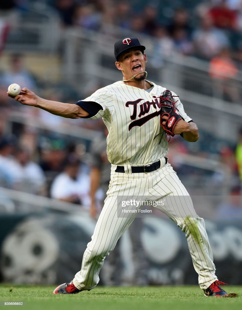 Jose Berrios #17 of the Minnesota Twins throws out J.D. Martinez #28 of the Arizona Diamondbacks at first base during the fourth inning of the game on August 19, 2017 at Target Field in Minneapolis, Minnesota.