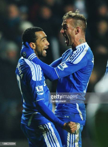 Jose Bosingwa of Chelsea celebrates his goal with Raul Meireles of Chelsea during the Barclays Premier League match between Swansea City and Chelsea...
