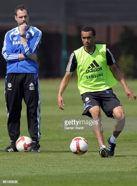Jose Bosingwa of Chelsea on the ball during a training session at the training ground on April 24, 2009 in Cobham, Surrey.