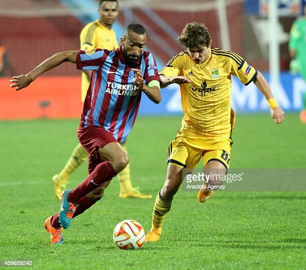 Jose Bosingwa of Trabzonspor in action against Pavlo Rebenok of Metalist Kharkiv during the UEFA Europa League Group L football match Trabzonspor vs...