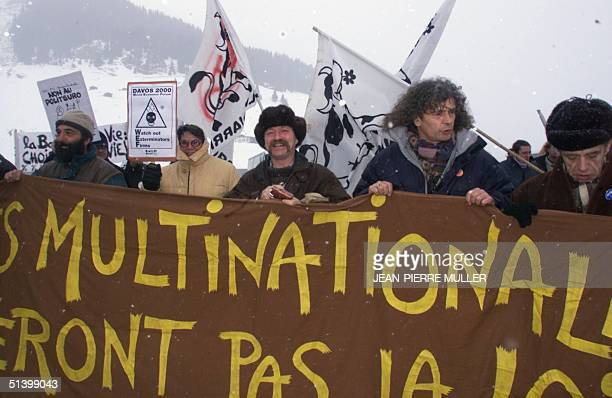 Jose Bove leader of the French farmers'union takes part of the antiglobalisation demonstration in Davos 29 January 2000 during the World Economic...
