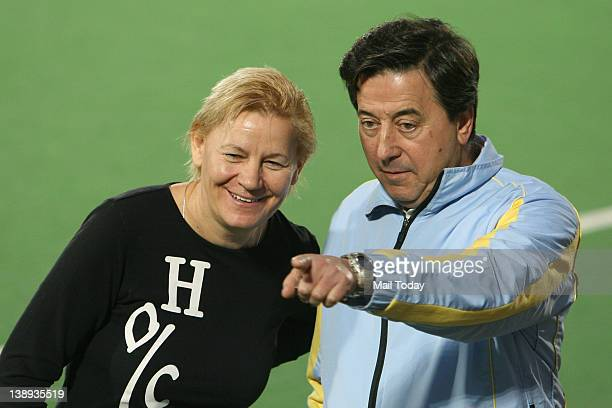 Jose Brasa, advisor of women hockey team of Ukraine during a practice session ahead of the Olympic qualifier at the Major Dhyan Chand National...