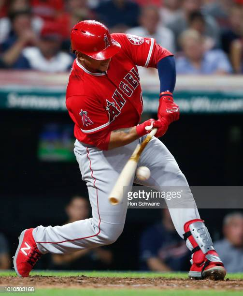 Jose Briceno of the Los Angeles Angels hits an RBI single off Adam Cimber of the Cleveland Indians during the eighth inning at Progressive Field on...