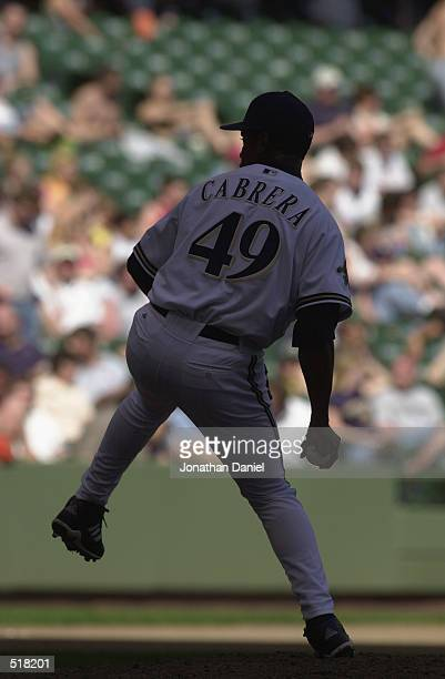 Jose Cabrera of the Milwaukee Brewers pitches against the Pittsburgh Pirates during the game at Miller Park in Milwaukee, Wisconsin on April 17,2002....