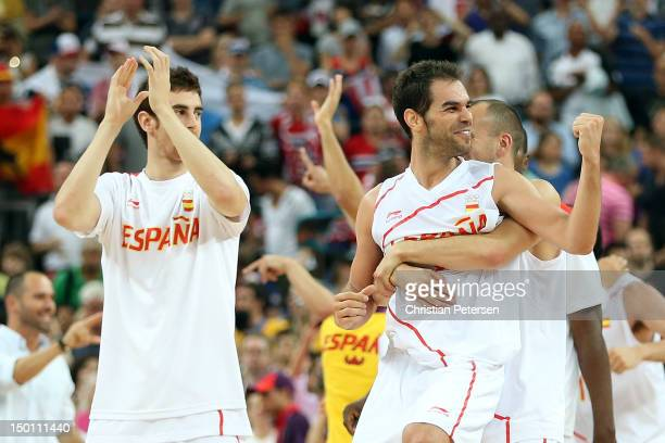 Jose Calderon of Spain celebrates with teammates after they defeated Russia 6759 during the Men's Basketball semifinal match on Day 14 of the London...