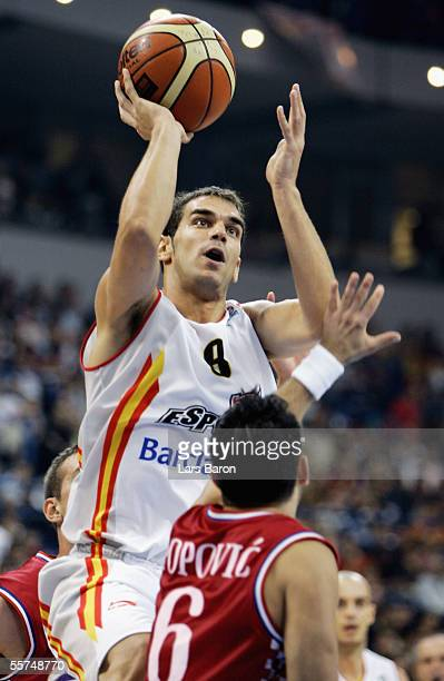 Jose Calderon from Spain shoots over Marko Popovic from Croatia during the FIBA EuroBasket 2005 quarter final match between Spain and Croatia on...