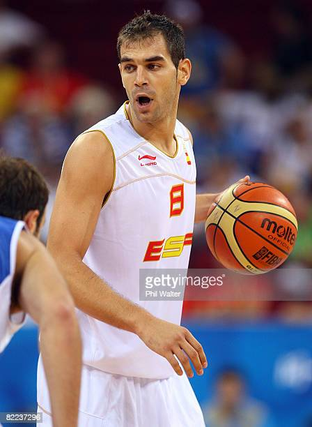 Jose Calderon of Spain moves the ball while taking on Greece during the day 2 preliminary game at the Beijing 2008 Olympic Games in the Beijing...