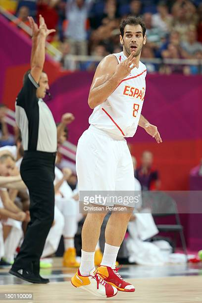 Jose Calderon of Spain reacts against Russia during the Men's Basketball semifinal match on Day 14 of the London 2012 Olympic Games at the North...
