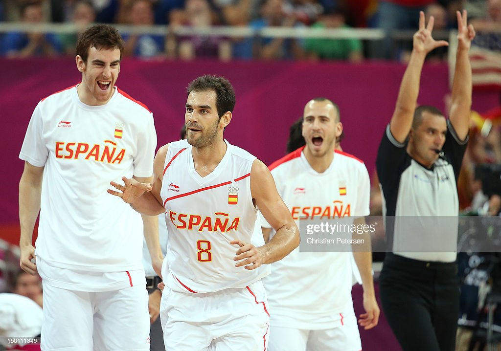 Jose Calderon #8 of Spain reacts with his teammates against Russia during the Men's Basketball semifinal match on Day 14 of the London 2012 Olympic Games at the North Greenwich Arena on August 10, 2012 in London, England.