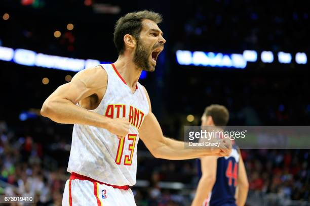 Jose Calderon of the Atlanta Hawks reacts to a play during the second quarter against the Washington Wizards in Game Four of the Eastern Conference...