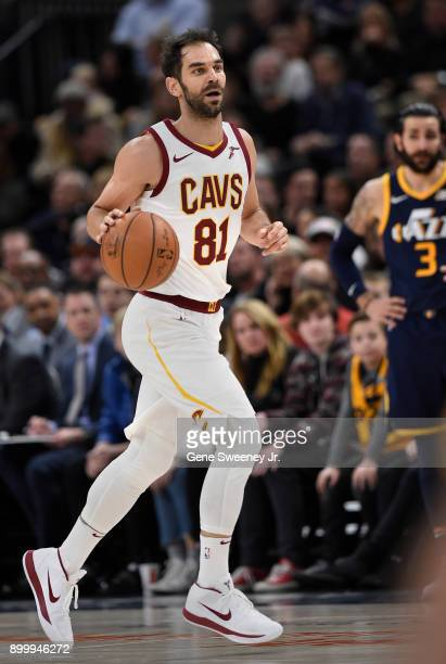 Jose Calderon of the Cleveland Cavaliers brings the ball up court during the first half against the Utah Jazz at Vivint Smart Home Arena on December...