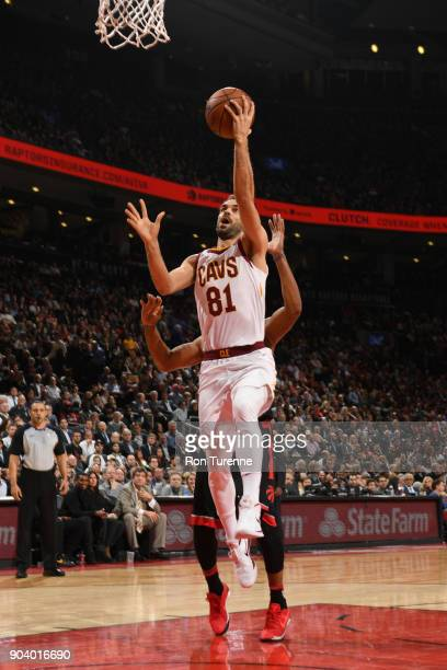 Jose Calderon of the Cleveland Cavaliers goes to the basket against the Toronto Raptors on January 11 2018 at the Air Canada Centre in Toronto...