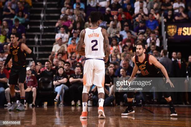 Jose Calderon of the Cleveland Cavaliers guards Elfrid Payton of the Phoenix Suns on March 13 2018 at Talking Stick Resort Arena in Phoenix Arizona...