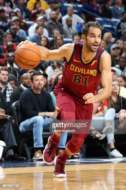 Jose Calderon of the Cleveland Cavaliers handles the ball against the New Orleans Pelicans on October 28 2017 at the Smoothie King Center in New...