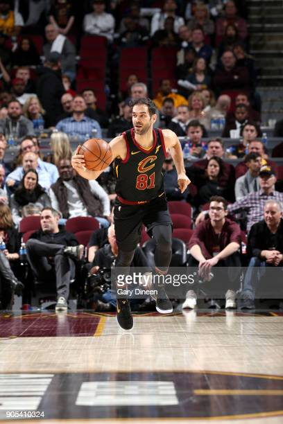 Jose Calderon of the Cleveland Cavaliers handles the ball against the Golden State Warriors on January 15 2018 at Quicken Loans Arena in Cleveland...