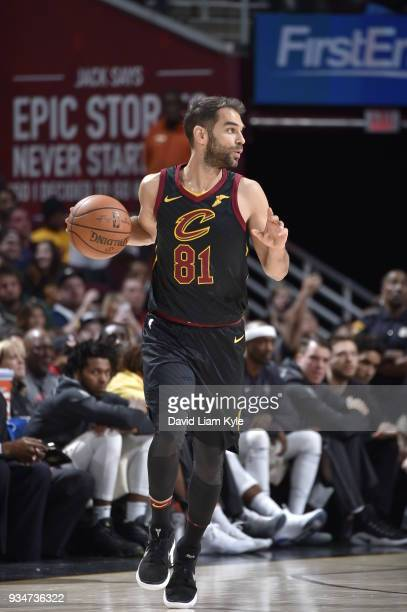 Jose Calderon of the Cleveland Cavaliers handles the ball against the Milwaukee Bucks on March 19 2018 at Quicken Loans Arena in Cleveland Ohio NOTE...