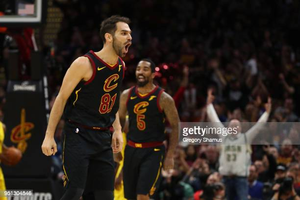 Jose Calderon of the Cleveland Cavaliers reacts to a second half three point basket while playing the Indiana Pacers in Game Five of the Eastern...