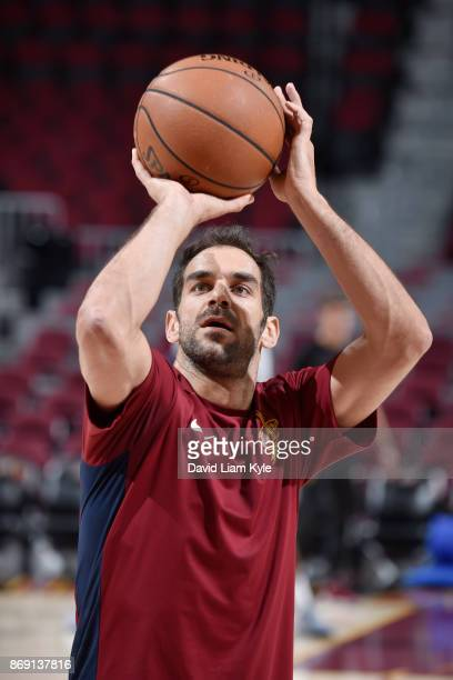 Jose Calderon of the Cleveland Cavaliers shoots the ball before the game against the Indiana Pacers on November 1 2017 at Quicken Loans Arena in...