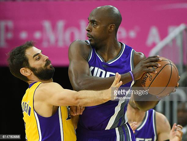 Jose Calderon of the Los Angeles Lakers guards Anthony Tolliver of the Sacramento Kings during their preseason game at TMobile Arena on October 13...