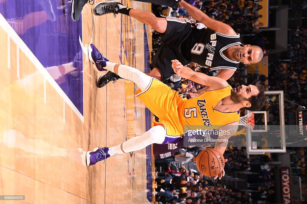 Jose Calderon #5 of the Los Angeles Lakers handles the ball against the San Antonio Spurs on November 18, 2016 at STAPLES Center in Los Angeles, California.