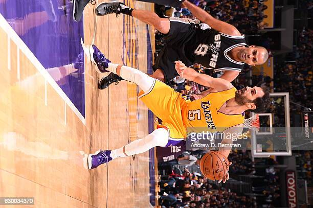 Jose Calderon of the Los Angeles Lakers handles the ball against the San Antonio Spurs on November 18 2016 at STAPLES Center in Los Angeles...