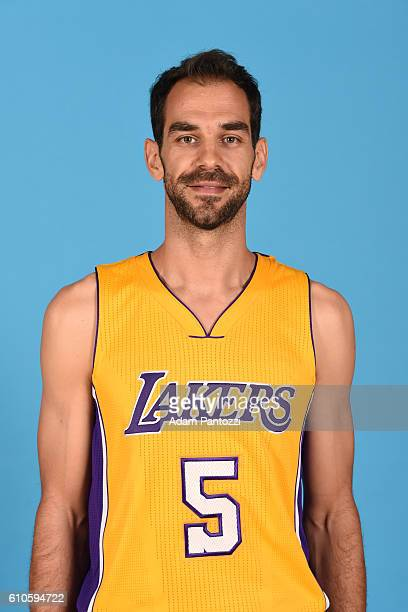 Jose Calderon of the Los Angeles Lakers poses for a headshot during 20162017 Los Angeles Lakers Media Day at Toyota Sports Center on September 26...
