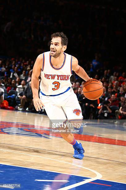 Jose Calderon of the New York Knicks drives to the basket against the Atlanta Hawks on October 29 2015 at Madison Square Garden in New York City NOTE...