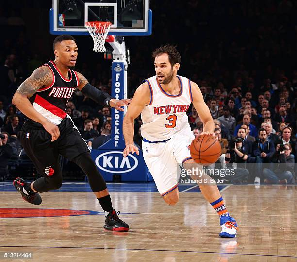 Jose Calderon of the New York Knicks handles the ball against the Portland Trail Blazers on March 1 2016 at Madison Square Garden in New York City...