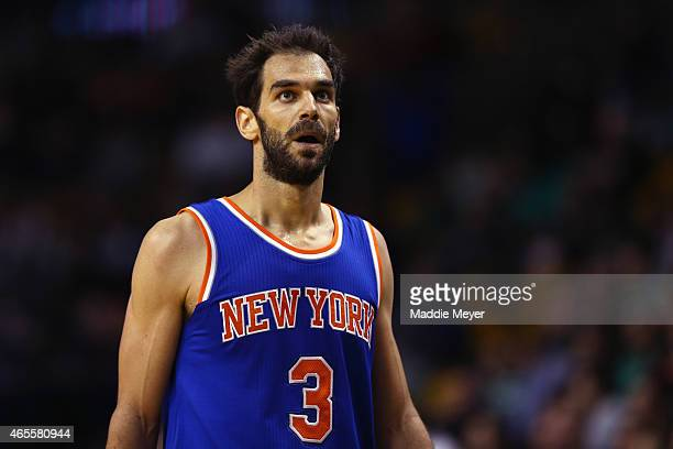 Jose Calderon of the New York Knicks looks on during the game against the Boston Celtics at TD Garden on February 25 2015 in Boston Massachusetts...